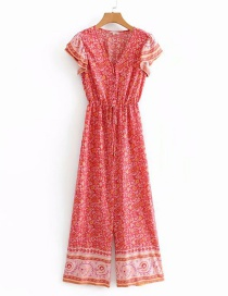 Fashion Red Printed V-neck Ruffled Sleeve Wide-leg Jumpsuit
