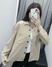 Fashion Khaki Solid Color Pocket Lapel Single-breasted Shirt