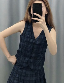 Fashion Black Plaid Printed Vest