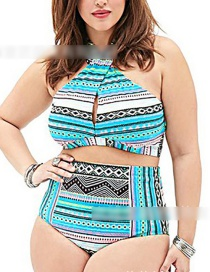 Blue Printed Twisted Rope High Waist Split Swimsuit