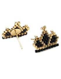 Black Crown Rice Beads Woven Earrings