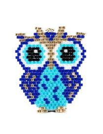 Blue Rice Beads Woven Owl Accessories
