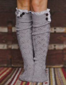Fashion Gray Lace Side Tube Pile Wool Socks