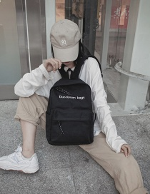Fashion Small Black Letter Backpack