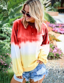 Fashion Red Wine Rainbow Gradient Print Sweater