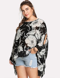 Fashion Black And White Flower Printed Chiffon Blouse