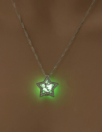Fashion Yellow Green Pentagram Angel Diamond Luminous Necklace