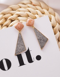 Fashion Dark Grey Geometric Fabric Texture Square Triangle Earrings