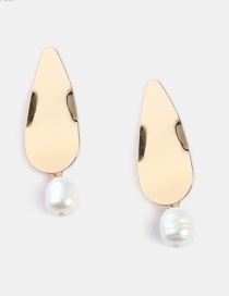 Fashion Gold Imitation Pearl 925 Silver Pin Metal Earrings