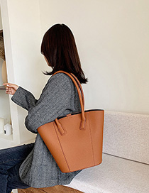 Fashion Brown Solid Color Shoulder Bag Diagonal Cross Package