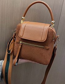 Fashion Brown Scrub Wide Shoulder Strap Handbag Crossbody Bag