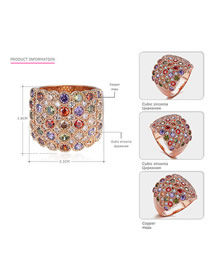 Fashion Rose Gold + Color Zircon Copper Ring