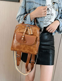 Fashion Yellow Brown Studded Shoulder-slung Tote