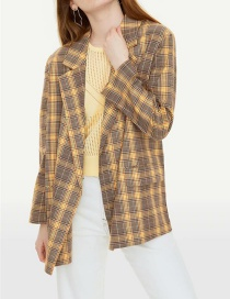Fashion Yellow Color Matching Style Collar Lapel Suit