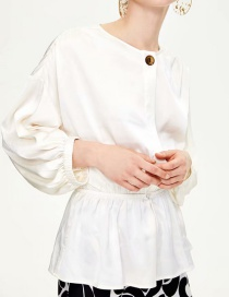 Fashion White Puff Sleeve Round Neck Open Shirt