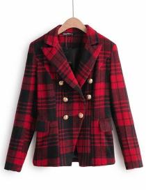 Fashion Red Tartan Coat