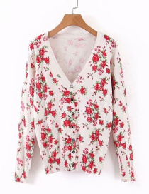 Fashion Color Printed Knit Cardigan