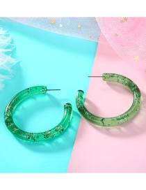 Fashion Green Colored C Round Transparent Acetate Earrings