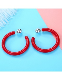 Fashion Red Acrylic Open Round Heart Cutout Earrings