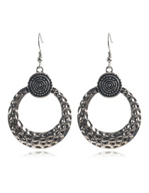 Fashion Ancient Silver Bronze Carved Metal Hollow Hoop Earrings