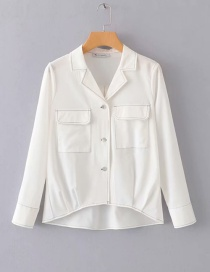 Fashion White Open Line Suit Collar Shirt