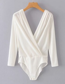 Fashion White Front And Back Cross-knit Jumpsuit