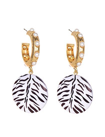 Fashion Gold Alloy Pearl Resin Zebra Stud Earrings