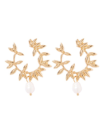 Fashion Gold Alloy Pearl Branch Earrings