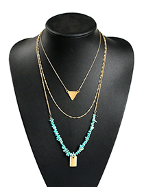 Fashion Gold Alloy Natural Stone Multi-layer Necklace