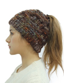 Fashion Color Coffee Warm Bamboo Wool Cap