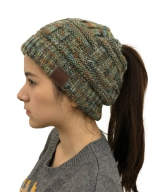 Fashion Colorful Green Ash Cc Labeling Knitted Wool Cap