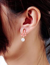 Fashion Red Drop Oil Flower 925 Sterling Silver Pearl Earrings