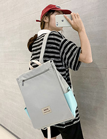 Fashion Gray Letter Labeling Oxford Cloth Zippered Shoulder Bag