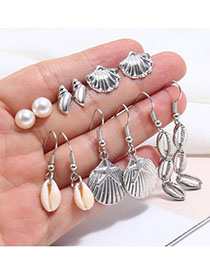 Fashion Silver Alloy Pearl Shell Stud Earrings Set