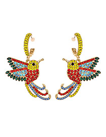 Fashion Color Alloy Diamond Bird Earrings