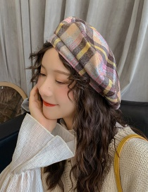 Fashion Innocent Yellow Coffee Plaid Thin Woolen Plaid Beret