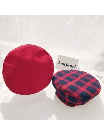 Fashion Suede Plaid Double Sided Red Plaid Beret
