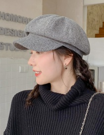 Fashion Houndstooth Wool Grey Small Plaid Woolen Beret