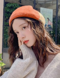 Fashion Colorblock Pumpkin Hat Mixed Orange Wool Thickening Color Matching Beret
