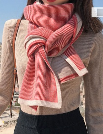 Fashion Knitted Double-sided Scarf Long Beige Striped Double-sided Thick Knitted Wool Scarf