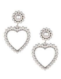 Fashion White Alloy Pearl Love Stud Earrings