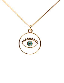 Fashion White Drip Oil Eye Necklace