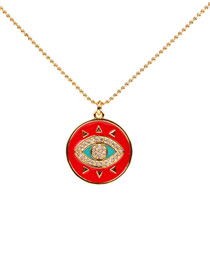 Fashion Gold Zircon Dropper Eye Necklace