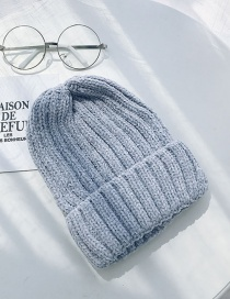 Fashion Chenille Thick Strips Gray Chenille Knit Hat