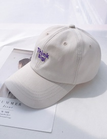 Fashion Think Beige Soft Top Letter Embroidery Curved Baseball Cap
