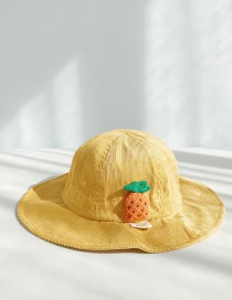 Fashion Drawstring Pineapple Turmeric Corduroy Child Fisherman Hat