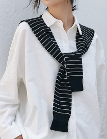 Fashion Striped Black Knotted Knitted Wool Shawl Scarf