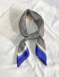 Fashion Blue Side Houndstooth Houndstooth Thin Silk Scarf