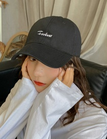 Fashion Forever Black Letter Soft Top Bend Baseball Cap