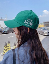 Fashion Now Green Printed Letter Baseball Cap